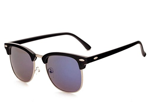 Gafas de Gafas Montura sin polarizadas Retro Unisex Sol Sol Mujeres Gafas Negro de Azul polarizadas para Tukistore Hombres qxwB08p