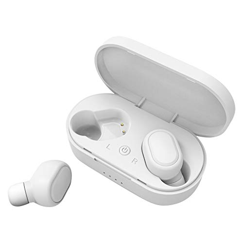 Rocketed Mini Wireless Earbuds,V5.0 Stereo Bluetooth Headphones with Built-in Mic,Invisible Noise Cancelling in-Ear Earphone Car Headset Fit for iPhone Samsung and Other Android Phones (Jvc Sportclip Earbud Headphones)