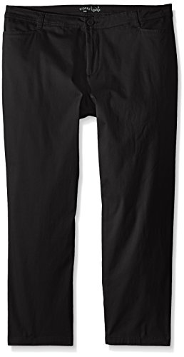 Riders by Lee Indigo Women's Plus Size Straight Leg Casual Twill Pant, Black, 22W Petite ()