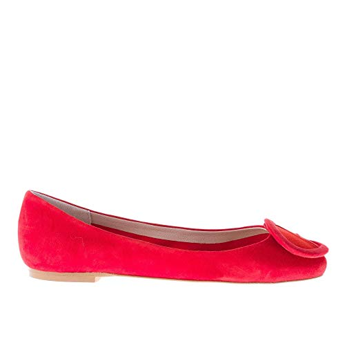 in Cuoio con IL in camoscio Rosso Suola BORGO Fibbia Ballerina Patchwork Rosso FIRENZE RaPWtnPxUq