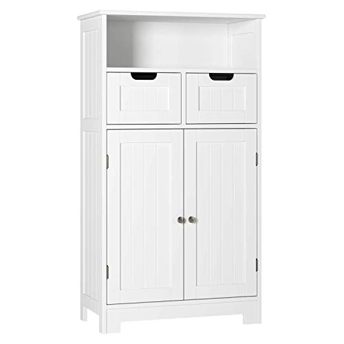HOMECHO Bathroom Storage Cabinet – 23.6″ Lx11.8 Wx42.7 H, Wood Floor Bathroom Linen Cabinet with Drawers and Doors, Adjustable Storage Shelf, Kitchen Side Cabinet for Home Office, Ivory White