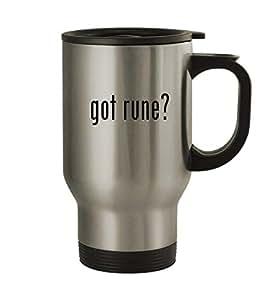 got rune? - 14oz Silver Travel Mug