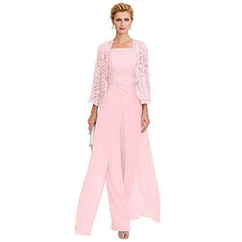 - TS Pantsuit Straps Floor Length Chiffon Corded Lace Split Front Mother of The Bride Dress with Appliques Pink