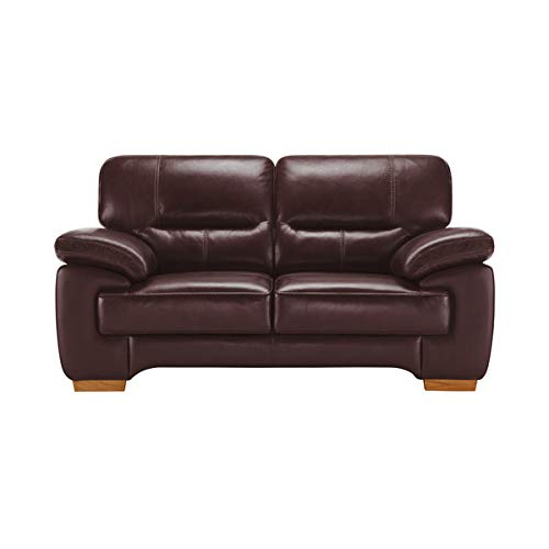 Oak Furniture Land Clayton 2 Seater Sofa in Burgundy Leather ...