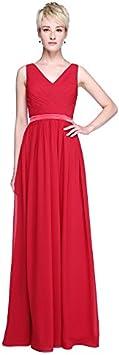 kekafu płaszcz/kolumna wycięcie w kształcie V, długość druhna szyfon sukienka z paskiem/taśma na krzyż i poprzeczny poprzez sieć LAN ting dla panny młodej: Sport & Freizei