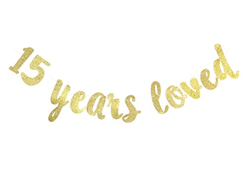 15 Years Loved Banner - Happy 15th Birthday / Wedding Anniversary Party Decorations