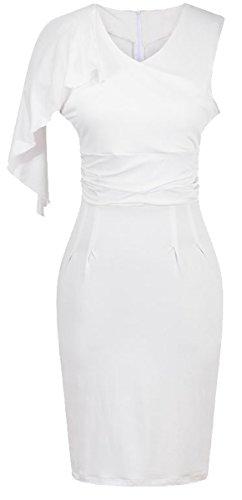 U-shot–Vestido de un hombro plisado vestido de noche de dama funda animada blanco