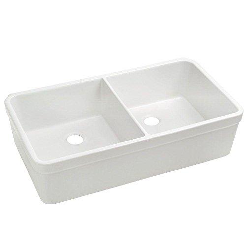 Whitehaus WHB5122-WHITE Home Indoor Farmhouse Kitchen Bathroom Basichaus Non Reversible Double Bowl Fireclay Sink with Decorative 2