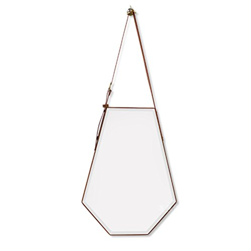 Leather Artificial Mirror (Mirror Faux Leather Suspension Frameless Bathroom Vanity Table Wall-mounted Bathroom Study Hanging Hexagon Makeup Size 5068cm)
