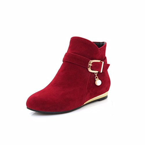 Big suede women's size gules buckle heel short shoes low boots Og7Oqrw