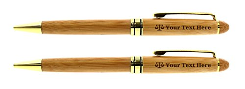(Customized Pens Scales of Justice New Lawyer Gifts Law School Graduation Gifts for Judges Gifts Court Officer Gifts Lawyer Pen Set 2-pack Personalized Laser Engraved Custom Wooden Bamboo Pen)