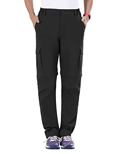 Women Gramicci Pants - Unitop Women's Convertible Hiking Quick Dry Pants Black XL 30
