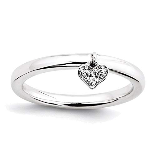 Lex & Lu Sterling Silver Stackable Expressions Dangle Heart Diamond Ring LAL7040-Prime from Lex & Lu