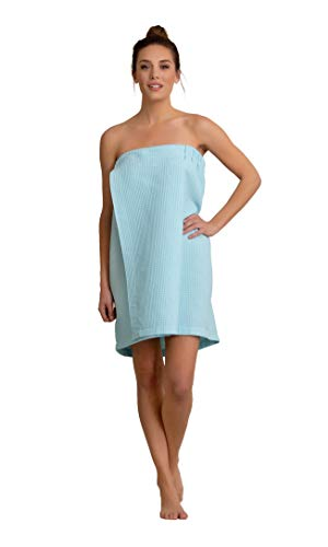 (Premium Turkish Cotton Women's Lightweight Knee Length Spa/Bath Waffle Body Wrap with Adjustable Hook-and-Loop Tape (Light Blue))