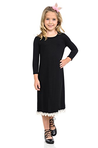 Detail Lace Trim (Honey Vanilla Girls' Swing Dress With Crochet Lace Trim Detail and Easy Removable Label Medium 7-8 Years Black)
