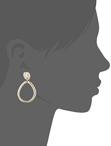Anne Klein Gold Tone Pave Drop Hoop Clip-on Earrings
