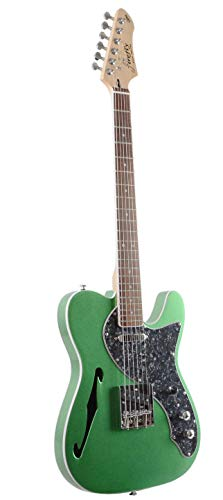 Firefly FFTH Semi-Hollow body Guitar Green color(Black pearloid pickguard).