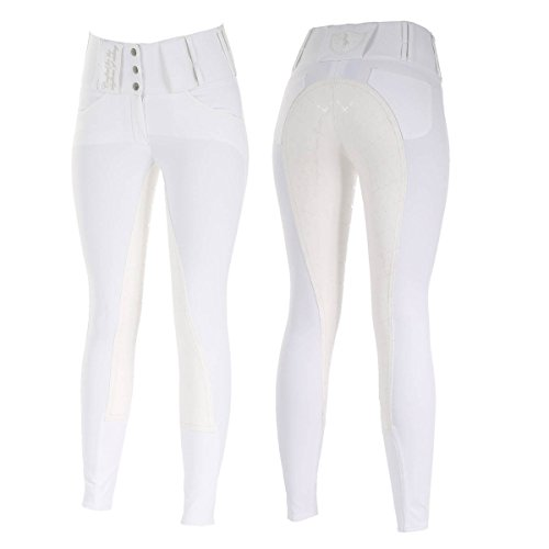 Pattern Water Repellent (Womens Ladies Horze WHITE High Waist English Desiree Hunt Seat Riding Show Check Pattern Soft Leather Full Seat Water Dirt Repellent Breeches Pants (US 26/EU 38))