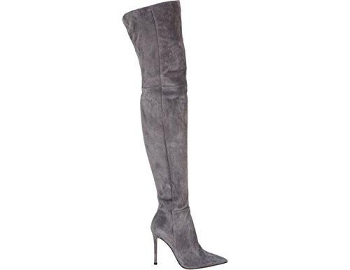 Die meisten Frauen Spitz Stiefeletten über Kniehohe Stiefel Stretch Wildleder Stilettos Stiefel Grau