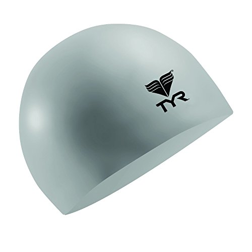 (TYR Latex Swim Cap, Silver)