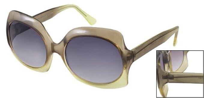Ellisse Plastica Sunglasses Forma Donne Dealmux Ponte Cancella Cerchiata Lens Unico Di Grigio