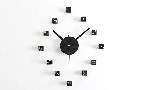 YINGKAI High Quality 3D Woody Creative Quartz Funny Dice Wall Stickers Clock for Home Decoration Unique Gift