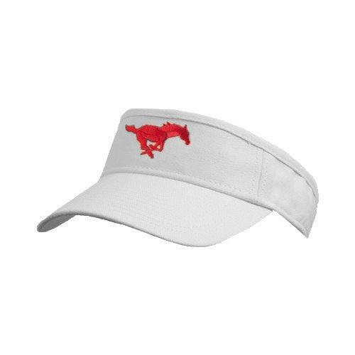 SMU White Brushed Bull Denim Visor 'Official Logo' by CollegeFanGear