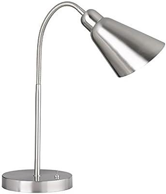 WOFI Lámpara de Mesa E27, 25 W, Nickel Matt/chrom, 18 x 18 x 78 cm ...