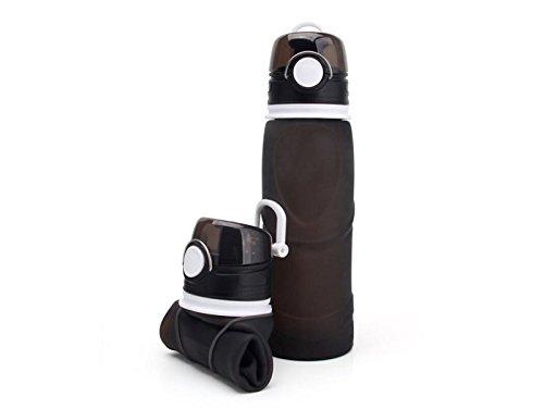 Yunqir Flexible 701-800ml Folable Water Bottles Collapsible Flexible Reuable Water Bottle for Hiking Adventures Traveling (Black) by Yunqir