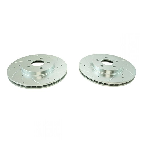 Performance Brake Rotor Drilled Slotted Front Coated Pair for Jaguar by AM Autoparts