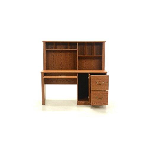 Bowery Hill Wood Computer Desk with Hutch in Carolina Oak