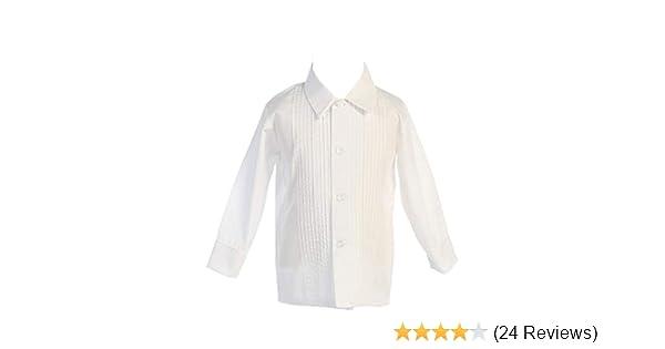 0c346559 Amazon.com: Boys White or Ivory Long Sleeve Pleat Child's Tuxedo Dress Shirt  - Baby to Teen: Clothing