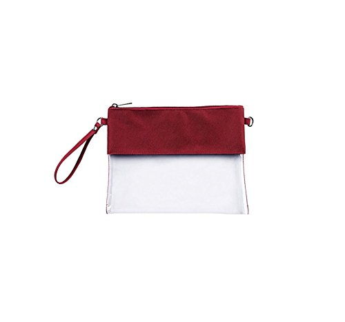 MONOBLANKS Clear Zip Pouch with Detachable Crossbody Adjustable Strap and Wristlet (Garnet)