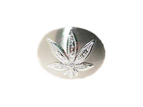 Men's Marijuana Hemp Leaf Oval Belt Buckle With Clear Rhinestones Belt Bu...