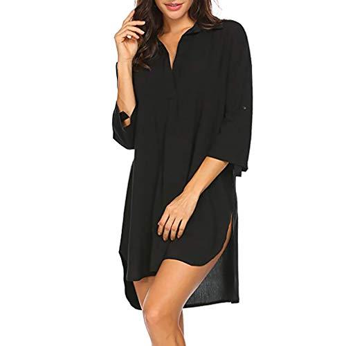 (Beach Cover Up, QIQIU Womens Fashion Solid Bikini Beachwear Bathing Suit Blouse Shirts Swimsuit Tops)