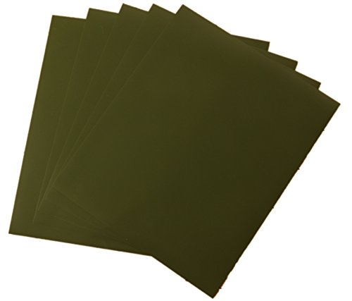 Rozzy Crafts - Army Green Heat Transfer Vinyl (HTV) - Matte and Smooth - 5 Sheets Each 12 inches by 10 inches - Works with Cricut, Silhouette, and All Other Cutting Machines ...