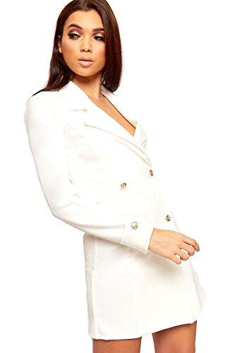 c8c131e4a045 WEARALL - Damen Doppelt Breasted Lang Hülle Kurz Schaltfläche Kragen Damen  Mini Blazer Kleid - 34 ...