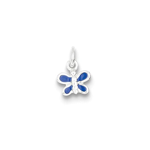 (Solid Sterling Silver Enameled Blue Butterfly Charm Pendant)