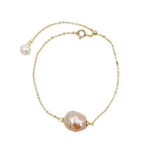 Designer Lee Bracelets (Lee Lee B6816Z-Baroque Pearl Gold Plated Simple Bracelet Gift Designer Jewellery)