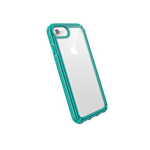Speck Products Compatible Phone Case for Apple iPhone 8, Presidio V-Grip Case, Clear/Caribbean Blue