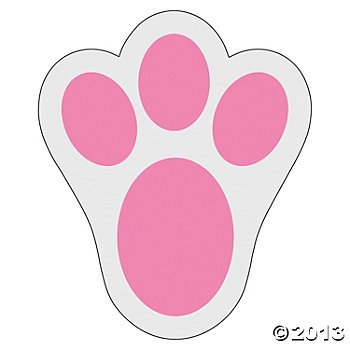Fun Express Pink Bunny Paw Print Floor Decal Clings - 12 Pieces ()
