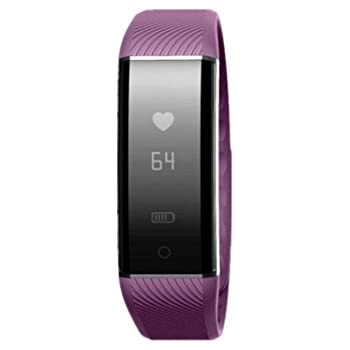 Yestone C6 Fitness Tracker with Heart Rate Monitor, Bluetooth Sports Wristband IP67 Waterproof for iOS and Android, Purple