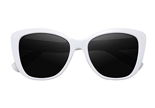 - FEISEDY Polarized Vintage Sunglasses American Square Jackie O Cat Eye Sunglasses B2451 (White, 56)