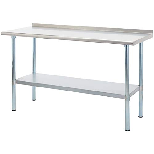 Rockpoint Carmona Tall NSF Stainless-Steel Commercial Kitchen Work Table with Backsplash and Adjustable Shelf, 60 x 24 - Table Backsplash