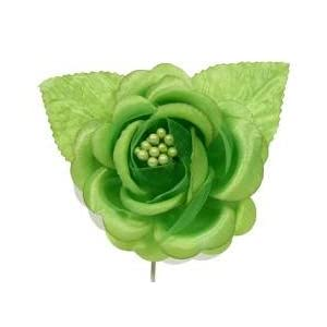 Apple Green Satin Roses with Leaves - Package of 12 105