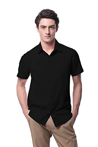 Men's Oxford Short Sleeve Button Down Casual Dress Shirt P-09X(S,Black) ()