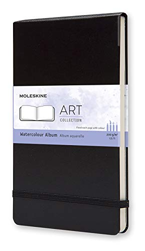 "Moleskine Art Watercolor Album, Hard Cover, Large (5"" x 8.25"") Plain/Blank, Black"