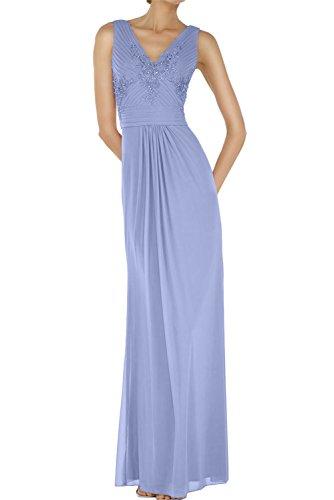 Chiffon Bodenlang Neck Ivydressing Applikation Ballkleid Neu Abendkleider Sexy Paillette Lavender Abendmode V wpFFx1OAqU