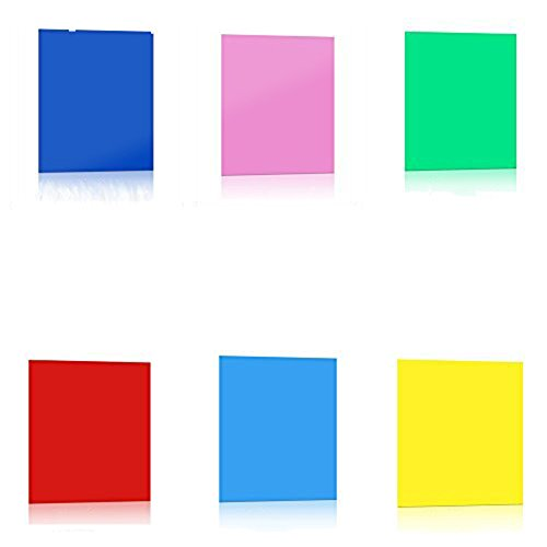 Lighting Gel Filter,Jeasun 6 Color Transparent Correction Film Plastic sheet (Red, Blue, Green, Cyan, Yellow, Magenta) 8 x 10 Inch by Jeasun