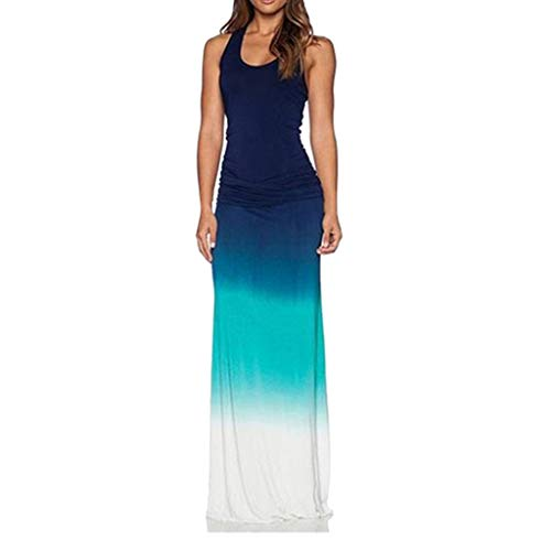TOTOD Dress - Womens Sleeveless Bohemian Tie-Dye Illusion Print Racerback Long Tank Beach Dress -